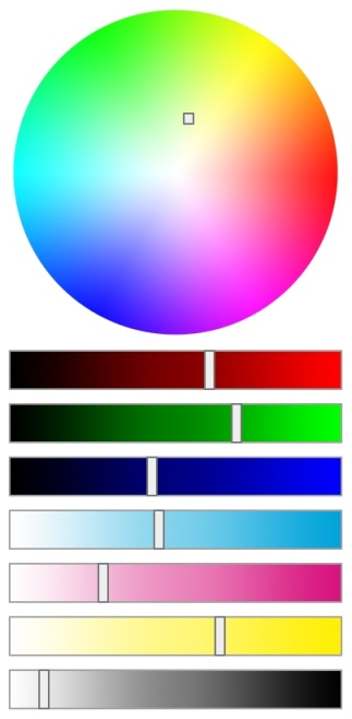A colour picker showing the colour wheel used in the spectrum illustration followed by sliders for red, green, blue, cyan, magenta, yellow and black. A yellowish green colour is selected and each of the sliders shows a different position making up this colour