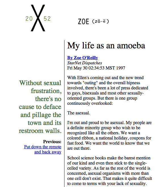 Screenshot from a websize 'My life as an amoeba' by Zoe O'Reilly.