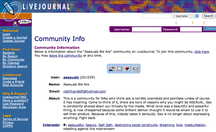 A 2002 LiveJournal screenshot showing the community 'Asexuals'.