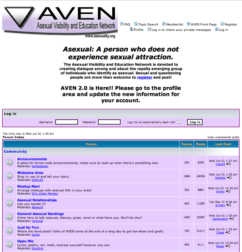 A screenshot of AVEN's forums now with a gradient in the logo and an announcement that 'AVEN 2.0 is Here!!'
