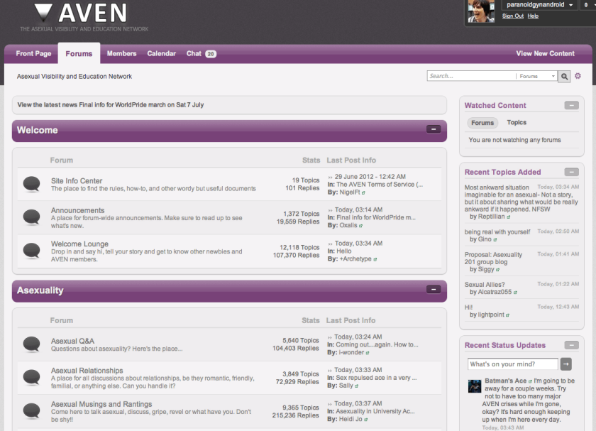 How the AVEN forums looked in July 2012, still lilac but with more dark greys and purple headers.