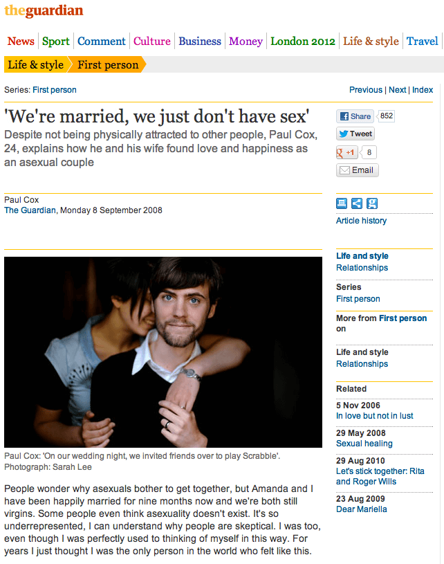 Screenshot from the 2008 Guardian website, 'We're married, we just don't have sex'. 'Despite not being physically attracted to other people, Paul Cox, 24, explains how he and his wife found love and happiness as an asexual couple'.