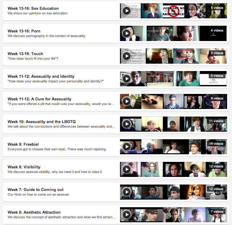Screenshot of a set of YouTube playlists featuring videos by a group of vloggers on a variety of subjects