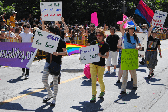 A group of people marching in bright sunlight, holding up hand written signs like 'Too ASEXY for Sex' and 'Asexuals: WE EXIST'