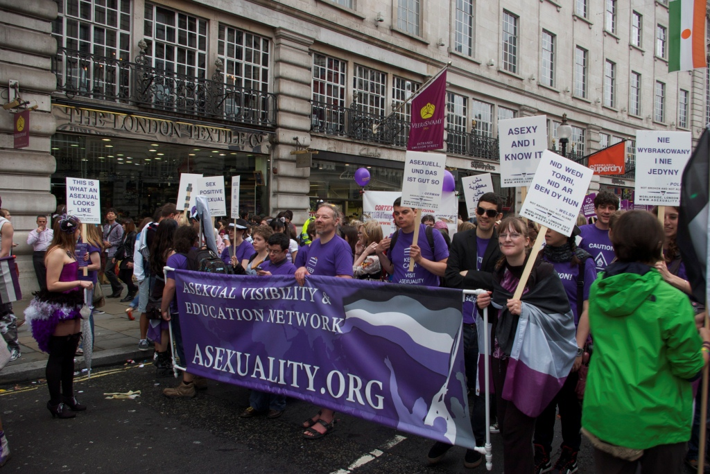 A group of people wearing purple t-shirts with designs like 'Caution: Flaming Asexual' marching behind a purple AVEN banner with an asexual flag design. Holding up printed signs like 'Asexy and I know it' and 'This is what an asexual looks like' in many different languages.